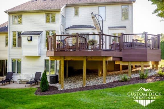 Side view of a 2nd story deck off the back of a home in Brighton Michigan