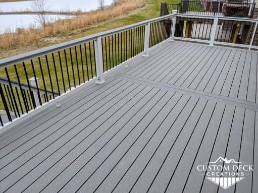 Backyard Trex deck in Canton Michigan with a view of a private lake