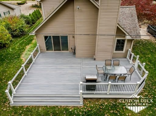 Trex Island Mist Deck in Backyard with Wide Stairs