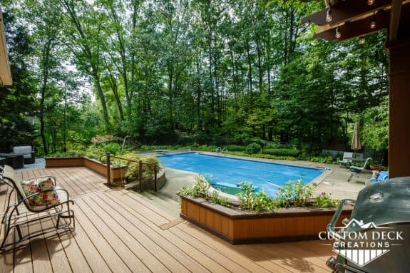 Backyard deck and pool