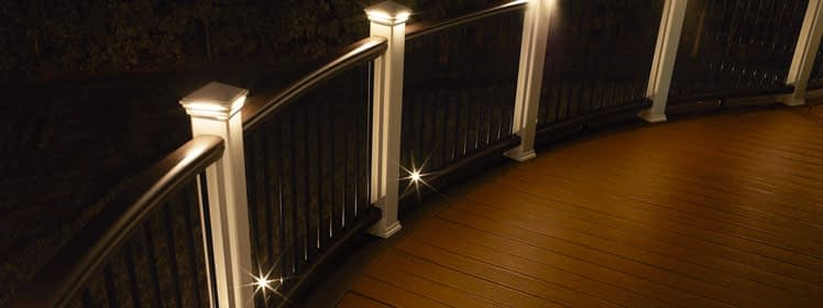 Deck railing lit up at night