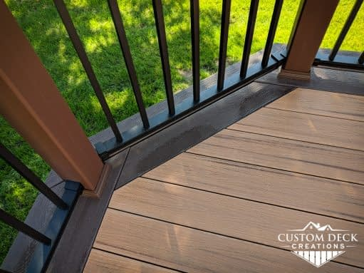 Detailed view of the edge perimeter of a backyard deck