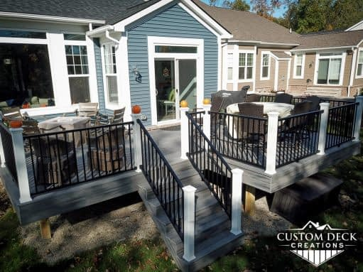 Backyard composite Trex deck on a new construction home in Canton Michigan