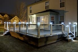Ypsilanti composite Trex deck with lights built by Custom Deck Creations
