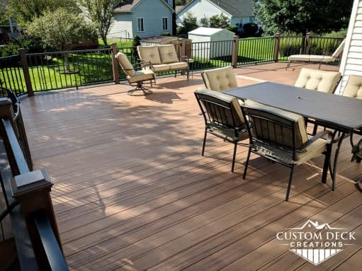 Large backyard brown composite deck