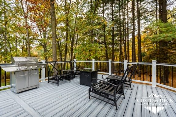 Trex Deck in Wooded Backyard