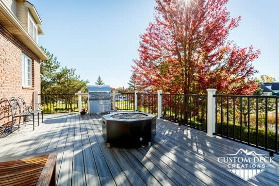 Gas Burning Fire Pit on Trex Deck
