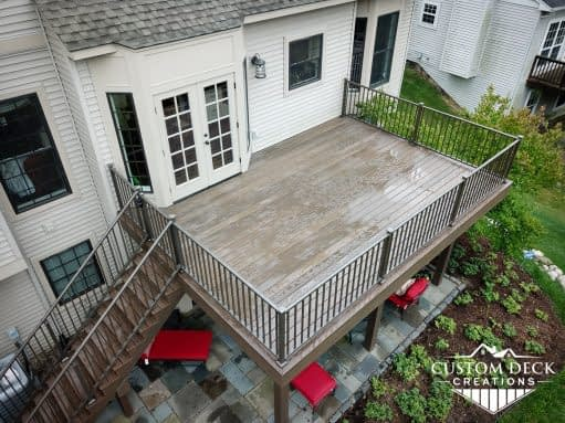 Aerial view of a 2nd story backyard deck