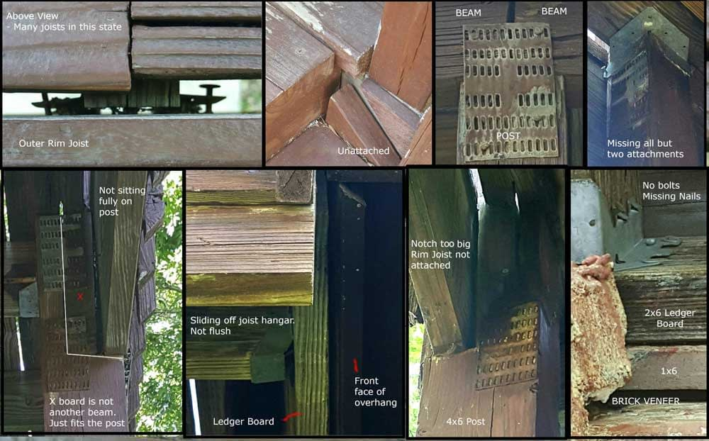 A collage of photos from outdoor deck inspections showing common failures