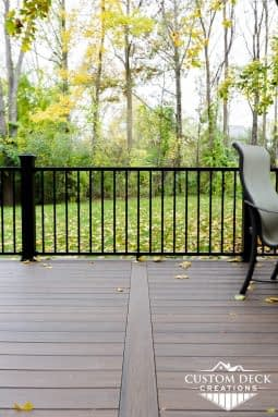 Open backyard shown from on top of a backyard composite deck in Canton Michigan