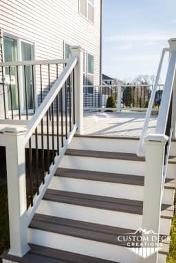 Trex stairs with white Azek riser fascia