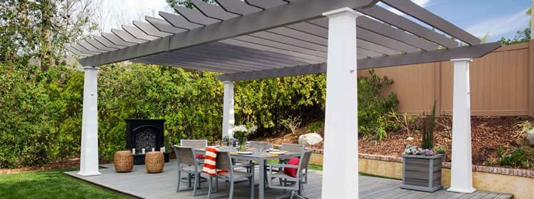 Trex Transcend Island Mist with Grey Pergola