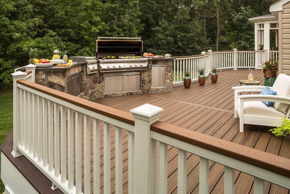 Canton Michigan Trex Deck Build with stone veneer outdoor kitchen