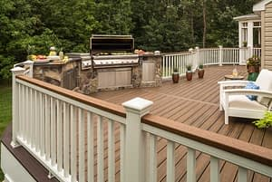 Canton Michigan Trex Deck Build with stone veneer outdoor kitchen